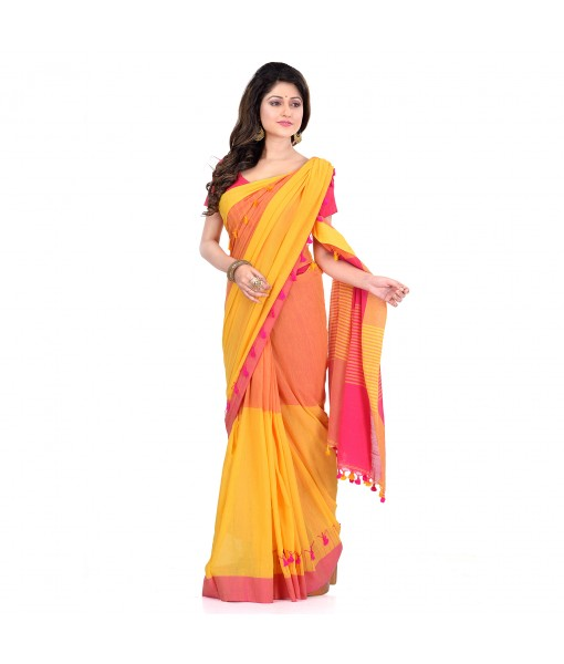 DESH BIDESH Women`s Traditional Bengali Handloom Tant Pure Cotton Saree Pompom Desigined With Blouse Piece (Yellow Pink)
