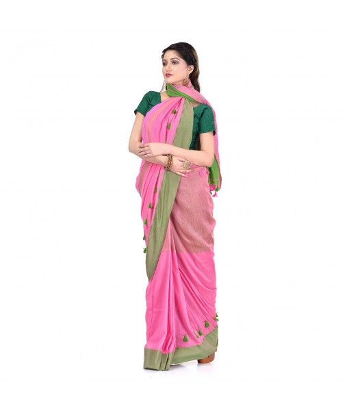 DESH BIDESH Women`s Traditional Bengali Handloom Tant Pure Cotton Saree Pompom Desigined With Blouse Piece (Pink Green)