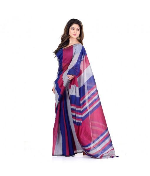DESH BIDESH Women`s Bengal Khadi Ghicha Handloom Cotton Silk Saree With Blouse Piece (Ink Red Grey)