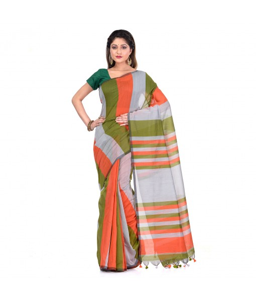 DESH BIDESH Women`s Bengal Khadi Ghicha Handloom Cotton Silk Saree With Blouse Piece (Orange Silver Green)
