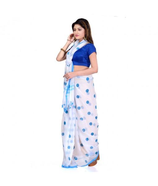 DESH BIDESH Women`s Traditional Hand Woven Malmal Bengal Handloom Pure Cotton Saree Without Blouse Piece (Sky Blue White)