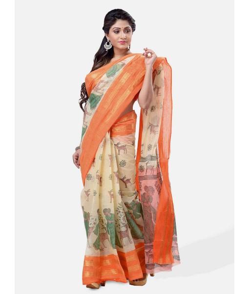 Bengal Printed cotton Tant Saree – Off White Sakuntala Printed Body With Light Work – Zori Work Border (Orange Off-White)
