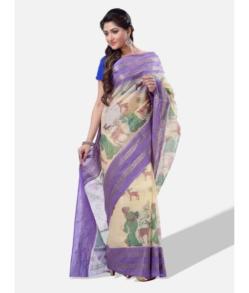 Women Sakuntala Design Pure Handloom Cotton Bengal Tant Saree Without Blouse Piece (Purple Off White)