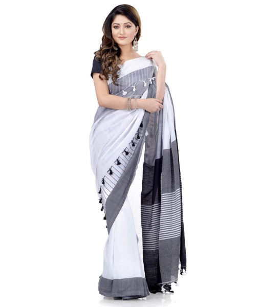 Women`s Traditional Bengali Handloom Tant Pure Cotton Saree Pompom Desigined With Blouse Piece (Deep Black Grey White)