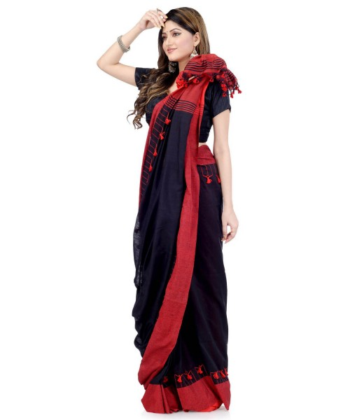 Red & Black Traditional Bengali Handloom Tant Pure Cotton Saree Pompom Desigined With Blouse Piece