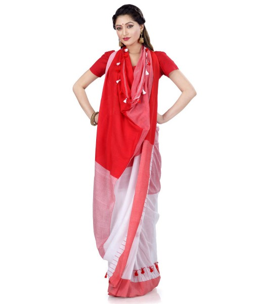 Traditional Bengali Handloom Tant Pure Cotton Saree Pompom Designed With Blouse Piece (Red White)