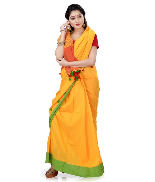Women`s Traditional Bengali Handloom Tant Pure Cotton Saree with Pom Pom lace Designed With Blouse Piece (Green Yellow Red)