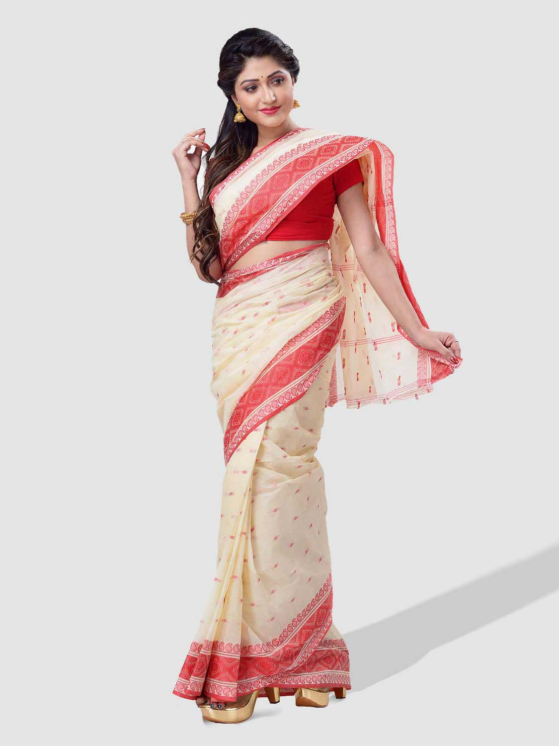 Bengal Soft Cotton Tant Saree Santipur Handloom with Fine Bengali Cotton Saree Handmade Whole Body Design
