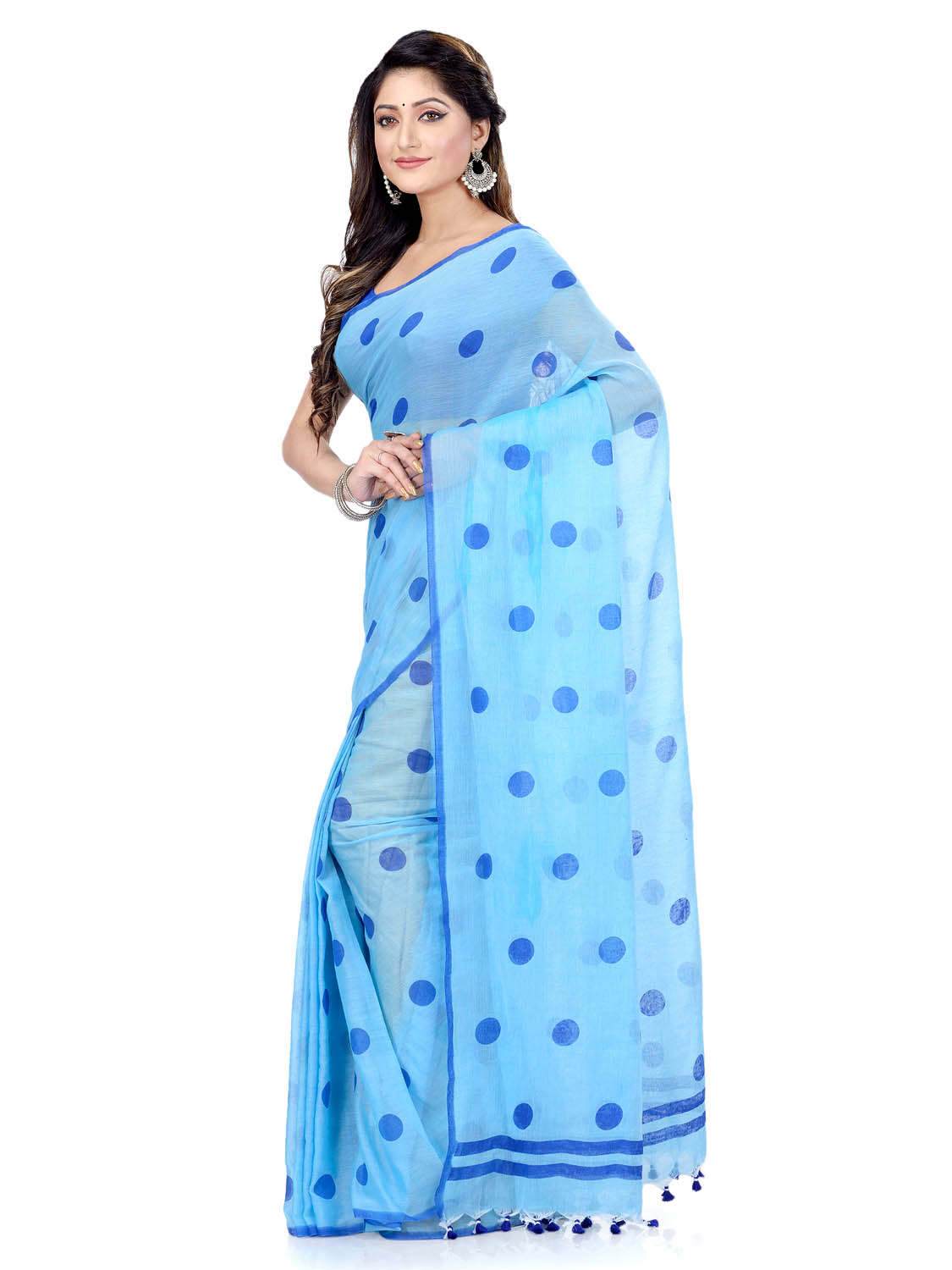 Women`s Traditional Hand Woven Malmal Bengal Handloom Pure Cotton Saree Without Blouse Piece (Sky Blue Deep Blue)