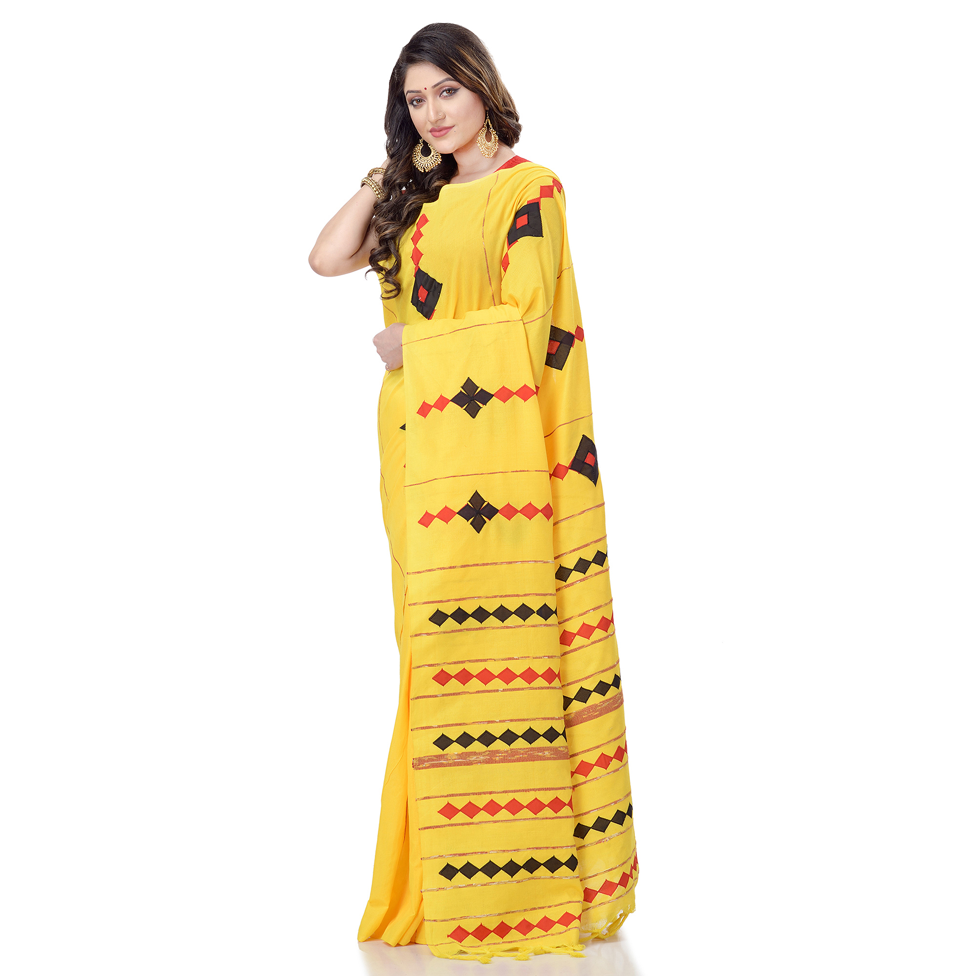 DESH BIDESH Women`s Bengali Khesh Pure Cotton Handloom Saree Diamond Designed With Blouse Piece(Yellow)