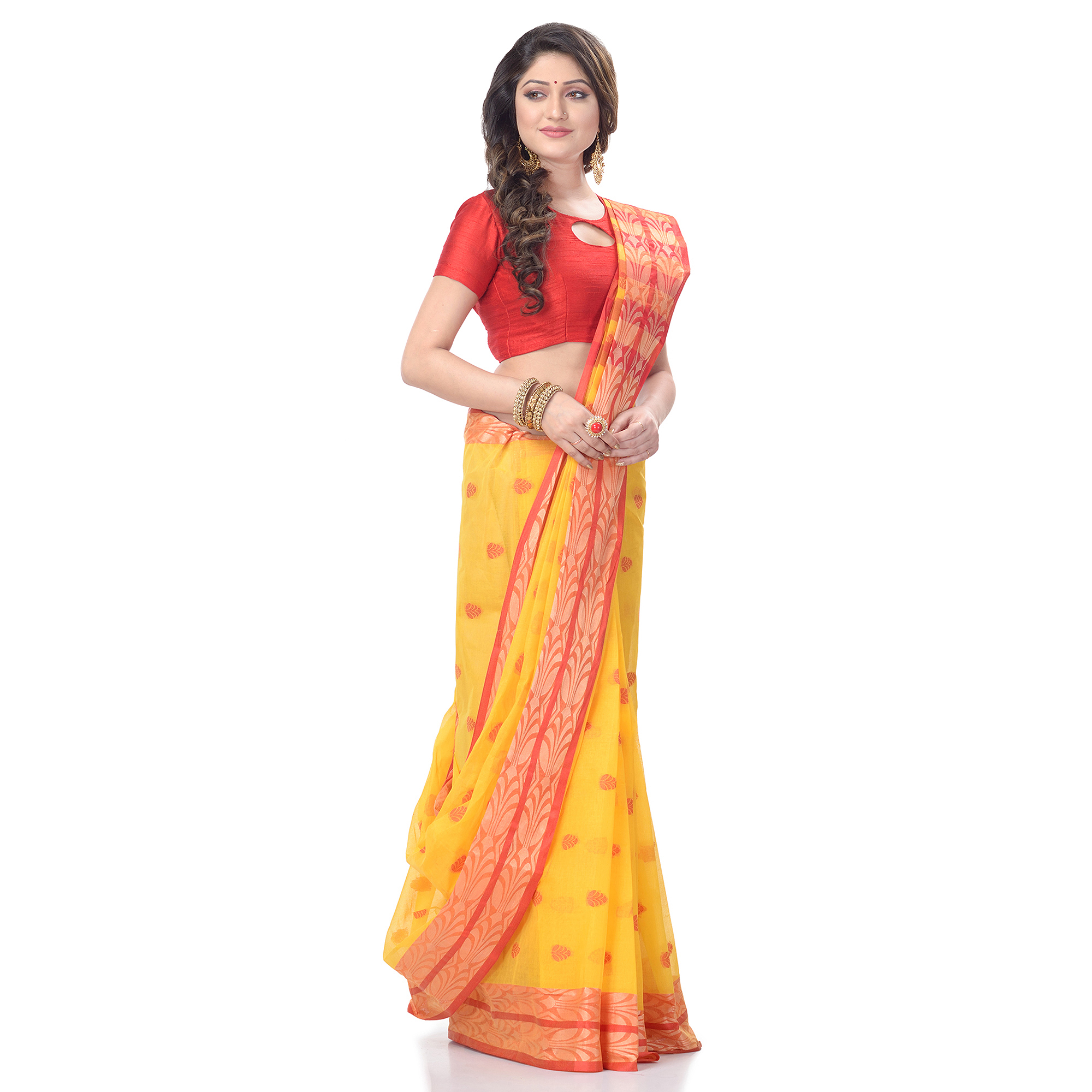 DESH BIDESH Women`s Bengal Tant Woven Potrobinnas Design Pure Handloom Cotton Saree Without Blouse Piece (Yellow)