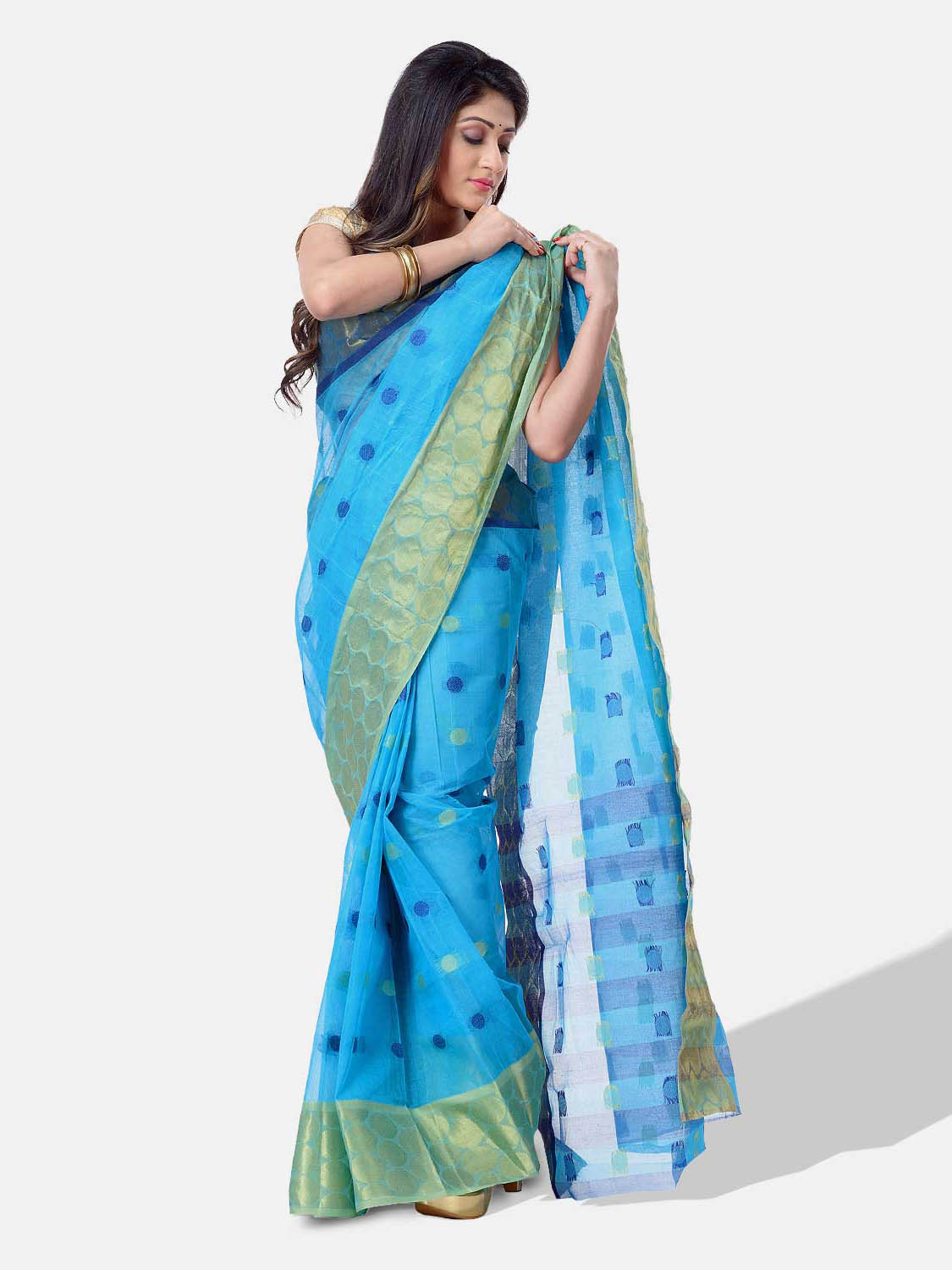 Women Ganga Jamuna Bengal Handloom Cotton Tant Saree Without Blouse Piece (DBGANGAJ4_blue_golden)