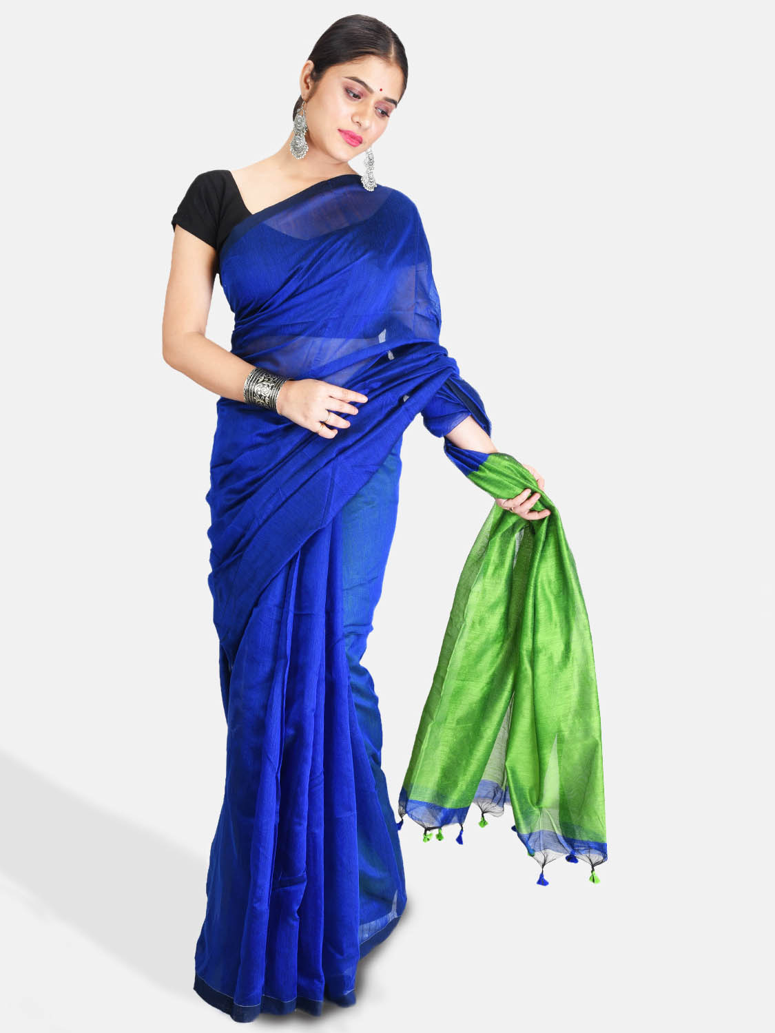DESH BIDESH Women`s Cotton Silk and Bengal Soft Khadi Cotton Mix Ghicha Handloom Saree With Blouse Piece (Blue Green)