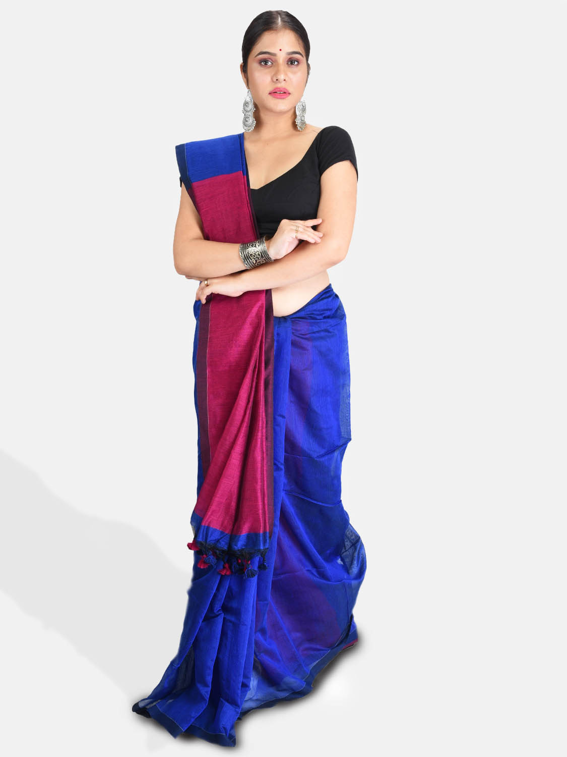 DESH BIDESH Women`s Cotton Silk and Bengal Soft Khadi Cotton Mix Ghicha Handloom Saree With Blouse Piece (Blue Deep Pink)