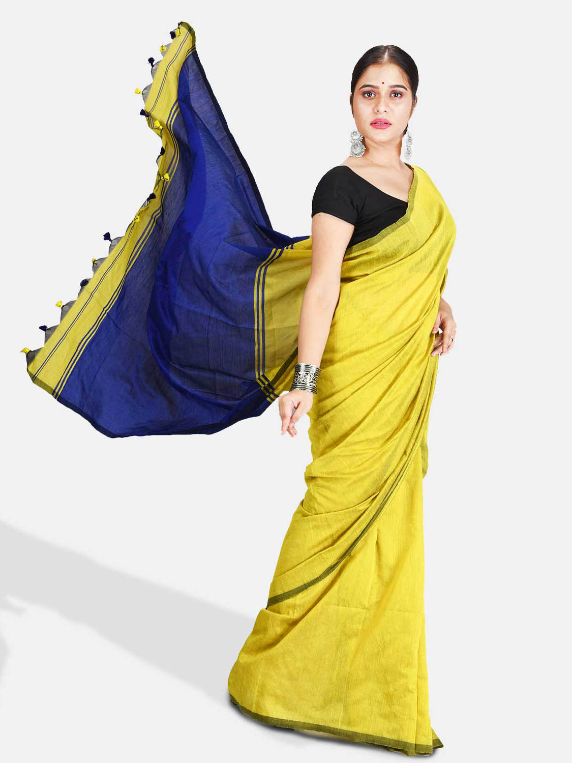 DESH BIDESH Women`s Cotton Silk and Bengal Soft Khadi Cotton Mix Ghicha Handloom Saree With Blouse Piece (GreenYellow Light Blue)