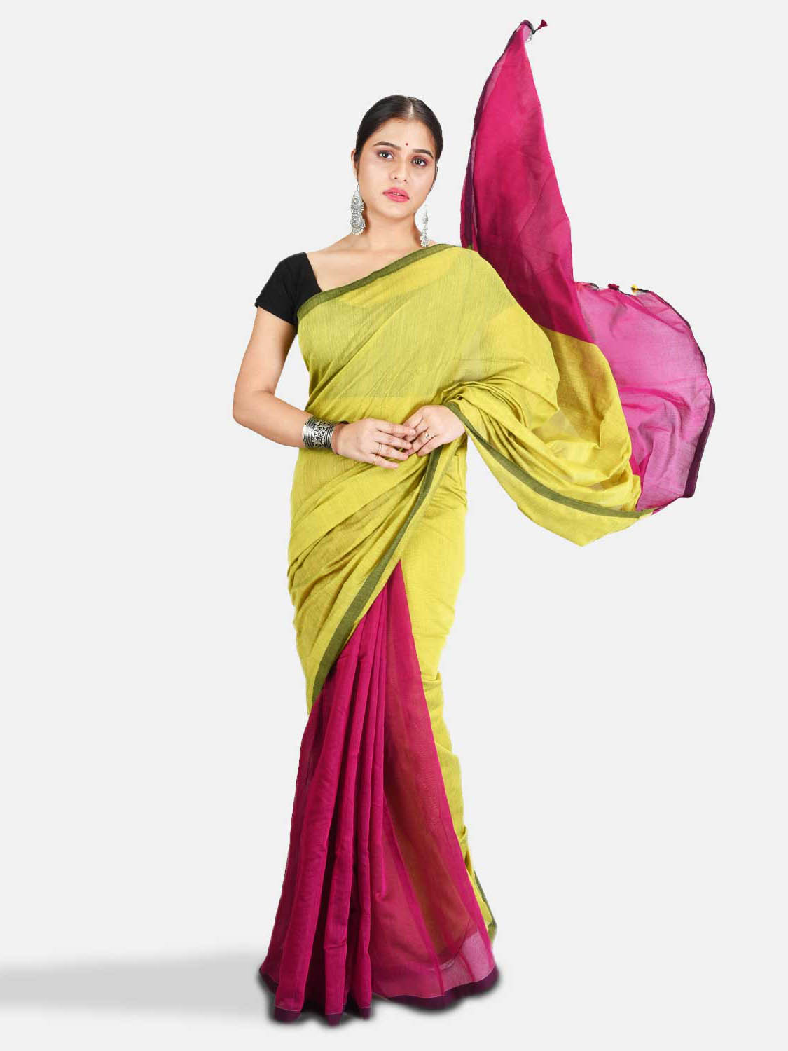 DESH BIDESH Women`s Cotton Silk and Bengal Soft Khadi Cotton Mix Ghicha Handloom Saree With Blouse Piece (Light Yellow Green Pink)