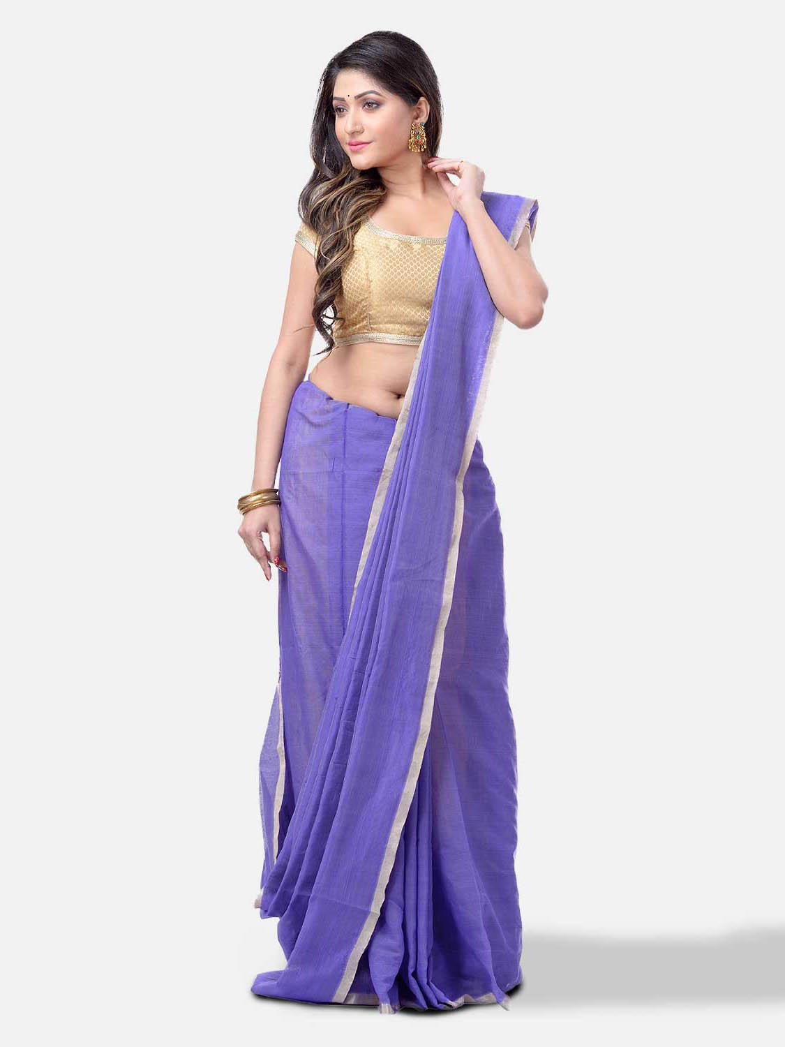 Women`s Cotton Silk and Bengal Soft Khadi Cotton Mix Ghicha Handloom Saree With Blouse Piece (Purple)