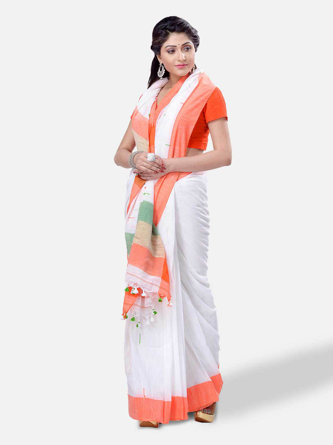 Women's Pure Cotton Handloom Flag Colour Saree Orange, White and Green