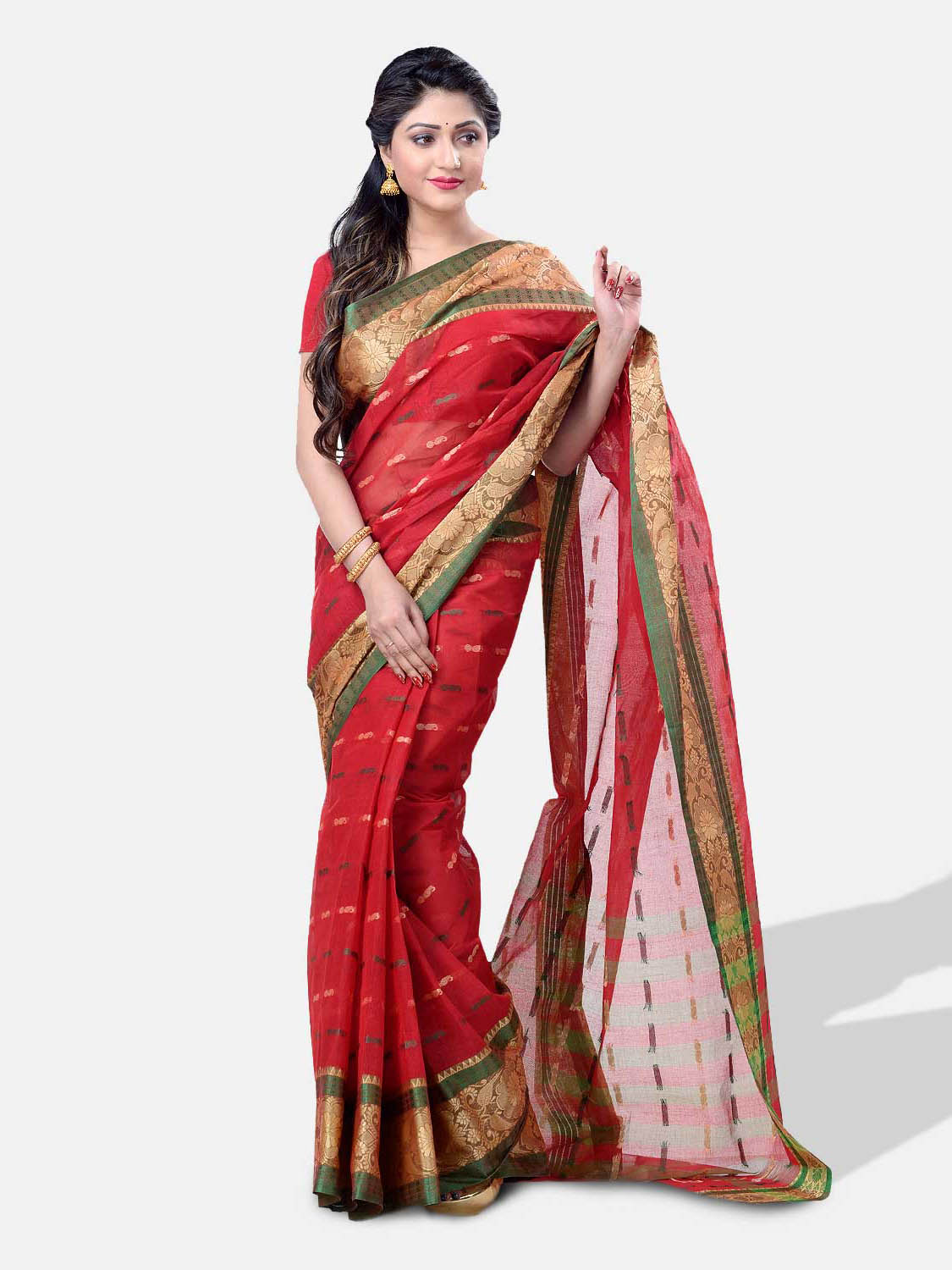 Women`s Santipur Handloom Bengal Tant Saree with Bnegali Cotton Saree Handmade Whole Body Unique Round Design (Red Green)