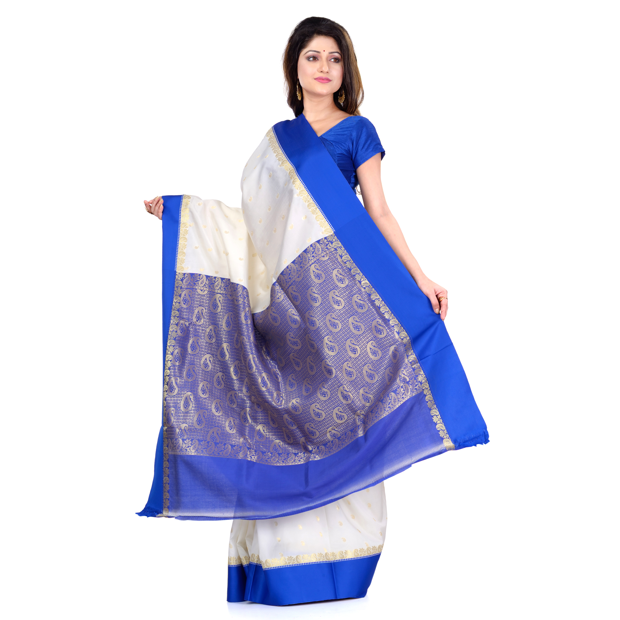 DESH BIDESH Women`s Bengal Premium Art Silk Saree Fine Smooth Original Art Silk Designed Saree With Blouse Pcs. Handmade Exclusive Flower with Kalka with Whole Body Design (White and Blue)