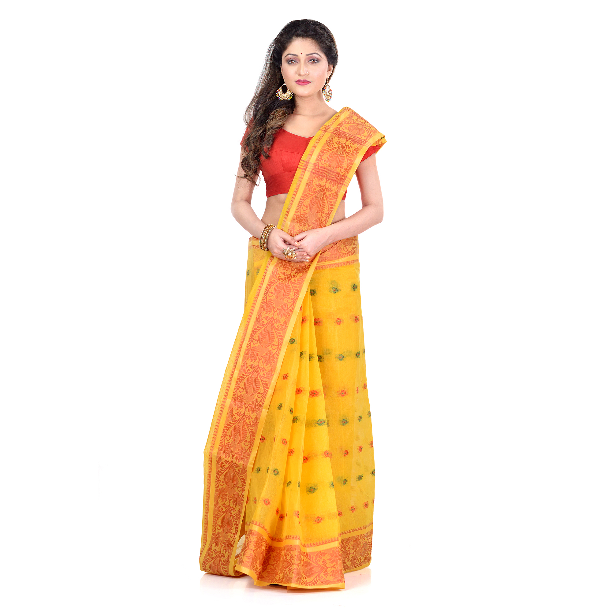 DESH BIDESH Women`s Traditional Bengal Tant Woven Bee Kolka Design Pure Handloom Cotton Saree Without Blouse Piece (Yellow)