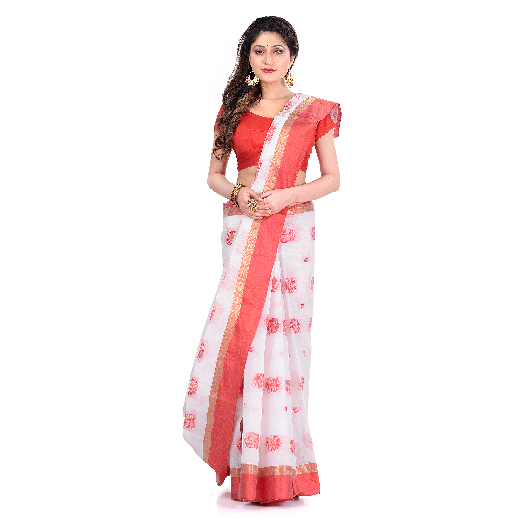 DESH BIDESH Women`s Traditional Bengal Tant Pure Handloom Cotton Saree Woven Fuleswari Design Without Blouse Piece (Red White)