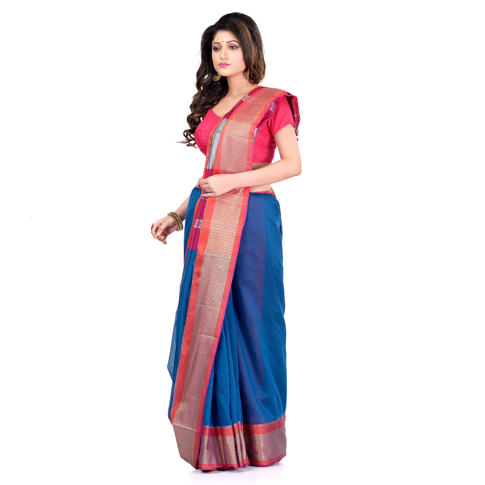 DESH BIDESH Women`s Handloom Cotton Silk Saree Jacquard Maheswari Design Zari Work With Blouse Piece(Blue Pink)