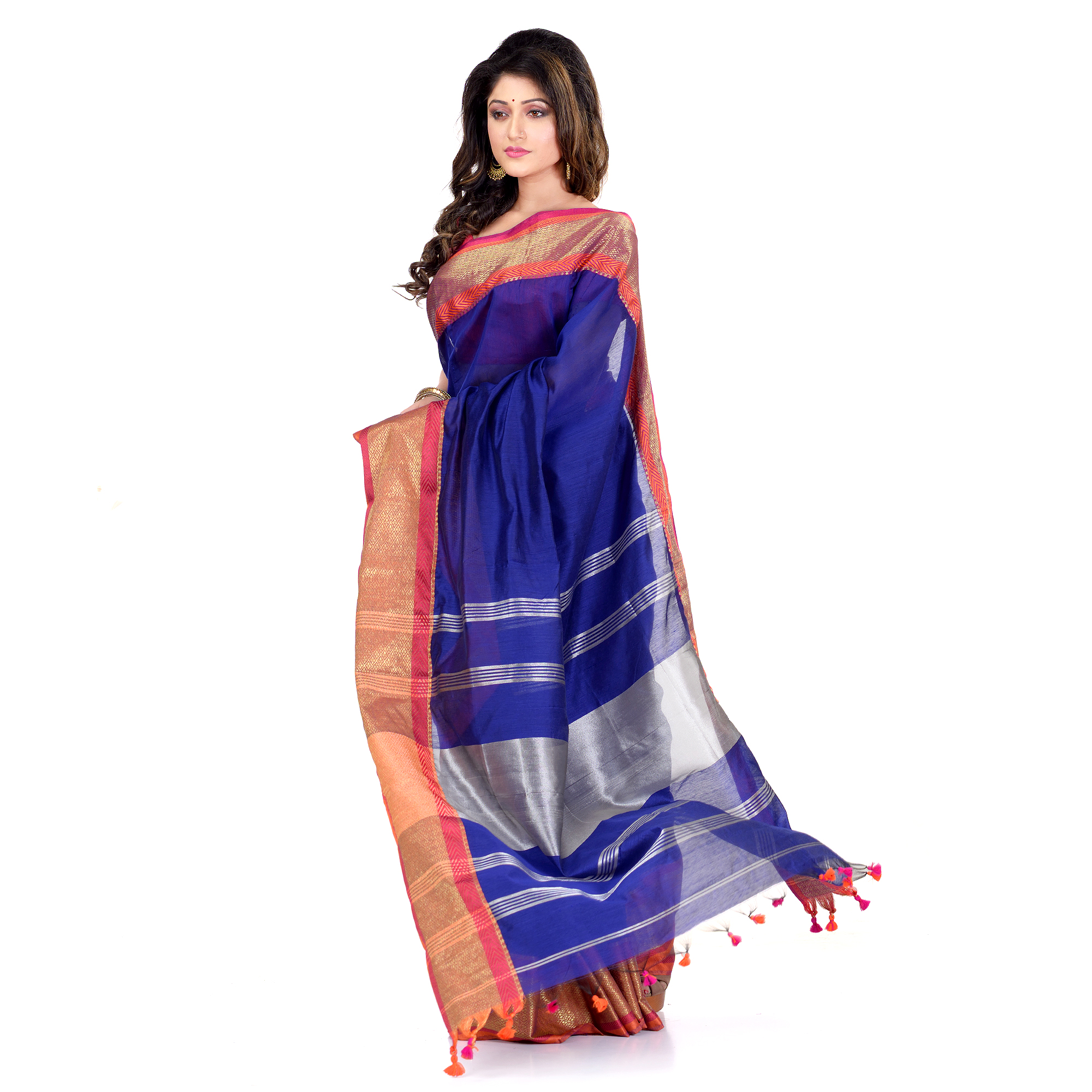 DESH BIDESH Women`s Handloom Cotton Silk Saree Jacquard Maheswari Design Zari Work With Blouse Piece(Deep Blue Silver)