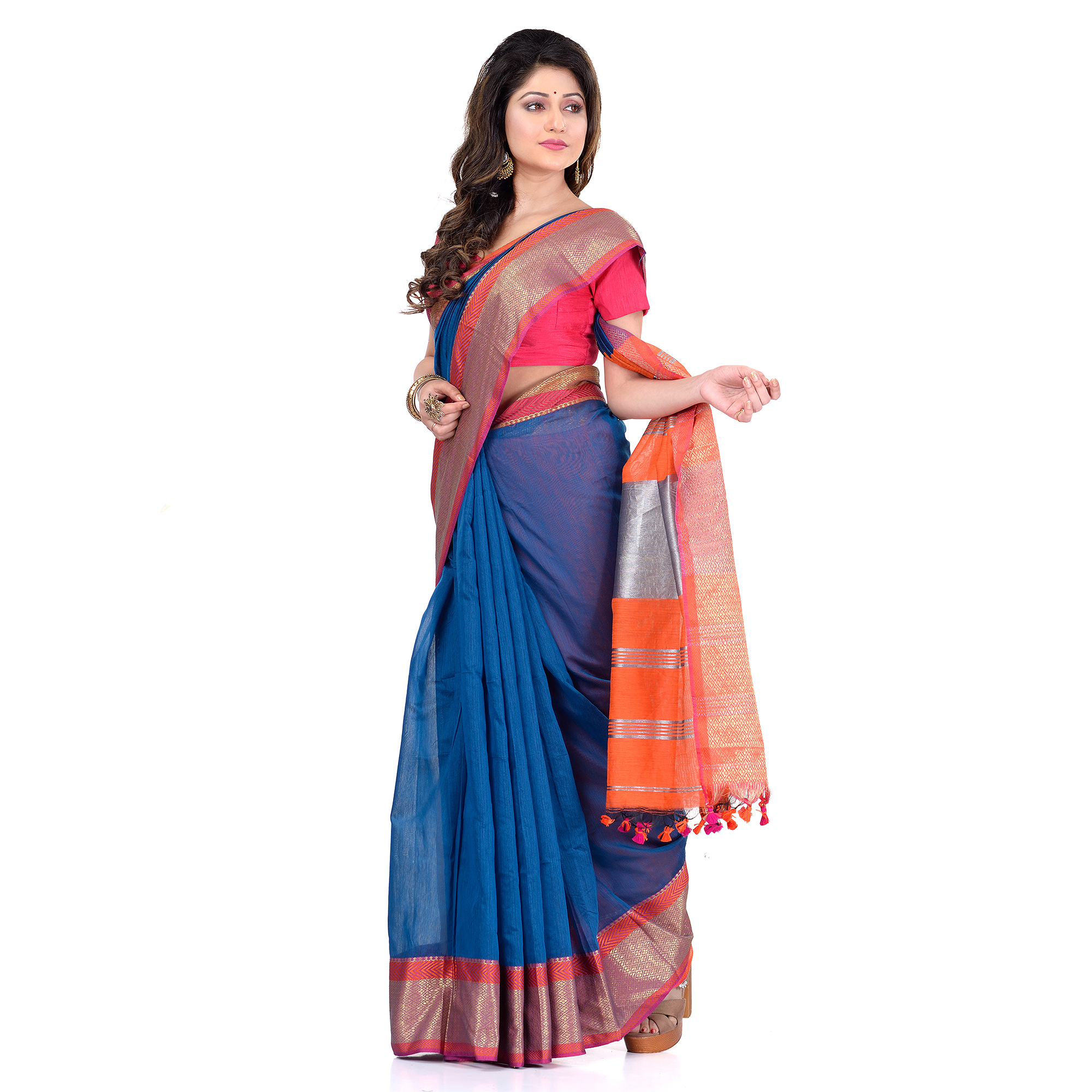 DESH BIDESH Women`s Handloom Cotton Silk Saree Jacquard Maheswari Design Zari Work With Blouse Piece(Blue Orange)
