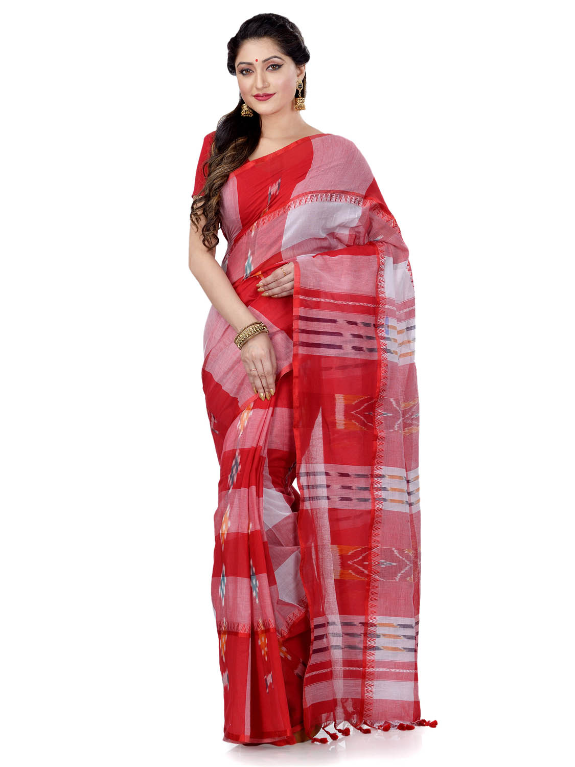 Women`s Bengal Handloom Tant Malmal Pure Cotton Saree Kotki Design Without Blouse Piece (Red White)